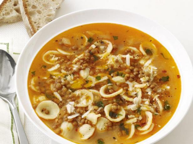 Soup with lentils and orecchiette pasta