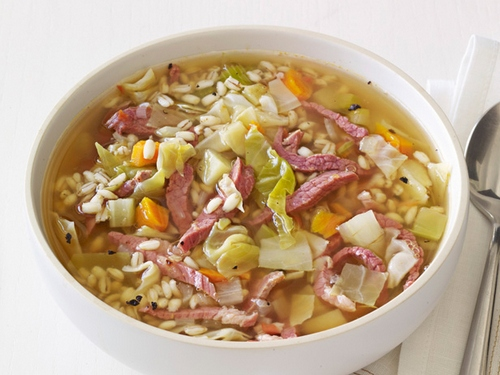 Pearl barley soup, cabbage with beef jerky