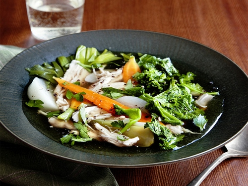 Chicken pot-a-fe with cabbage kale