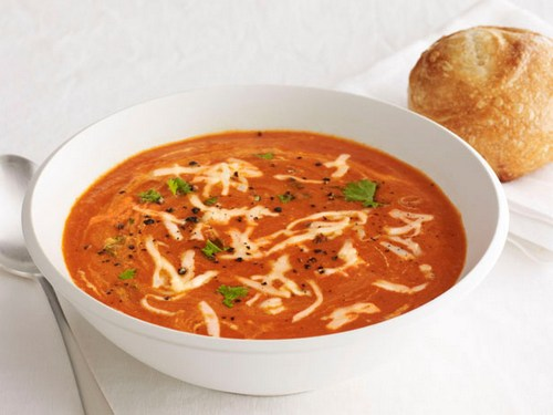Baked sweet pepper puree soup