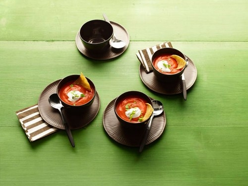 Tomato puree soup with chipotle and corn chips