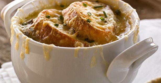 French onion soup with mushrooms