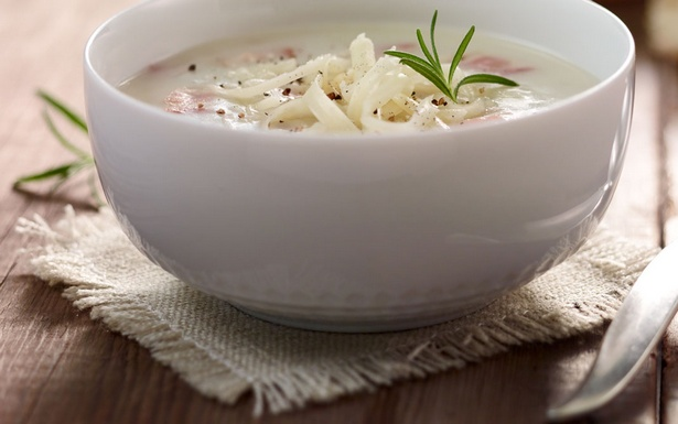 Mashed potato soup with bacon
