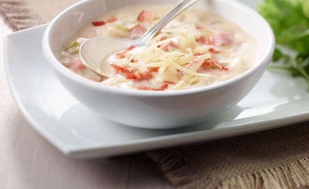 Mashed potato soup with ham