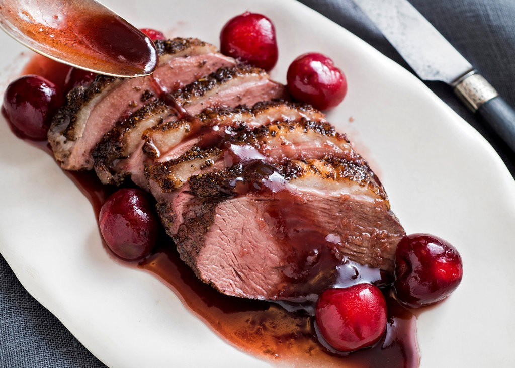 Wild duck with berry sauce