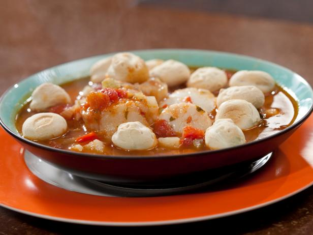 Fishing soup with cod and scallops