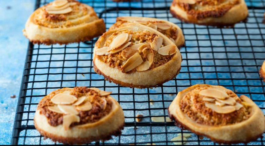 Cookies with a capital letter with rum and almonds