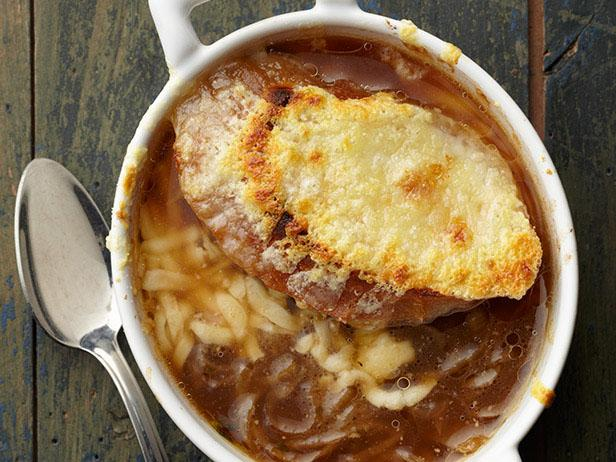 French onion soup with lemon and two types of cheese