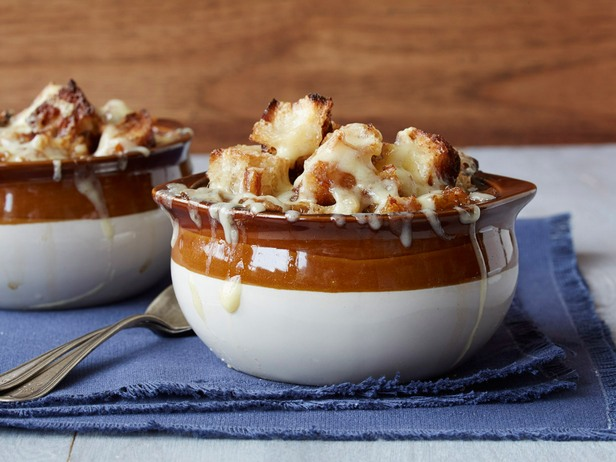 French onion soup in pots