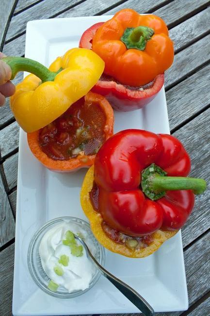 Gazpacho tomato soup in sweet pepper cups
