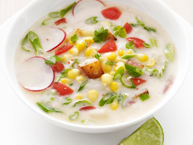 Thai-style milk soup with potatoes and corn
