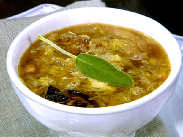 Rich vegetable soup with pumpkin and sage