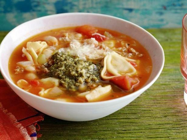 Bean soup with Italian dumplings and green dressing