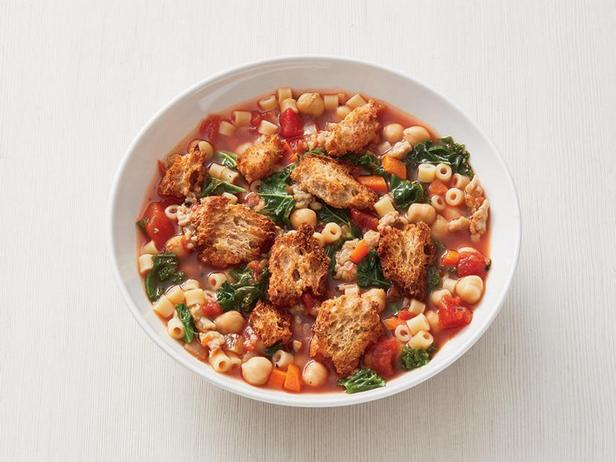 Minestrone soup with turkey and kale cabbage