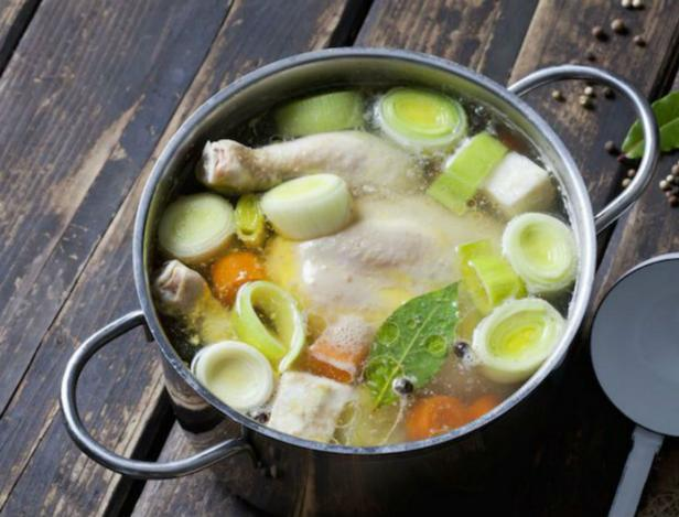 Delicious chicken broth for soup