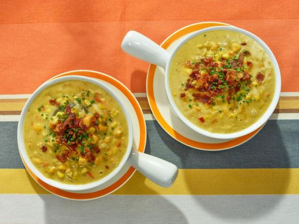 Chowder with sweet potatoes and corn