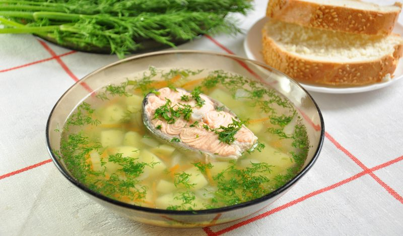 Trout fish soup with millet