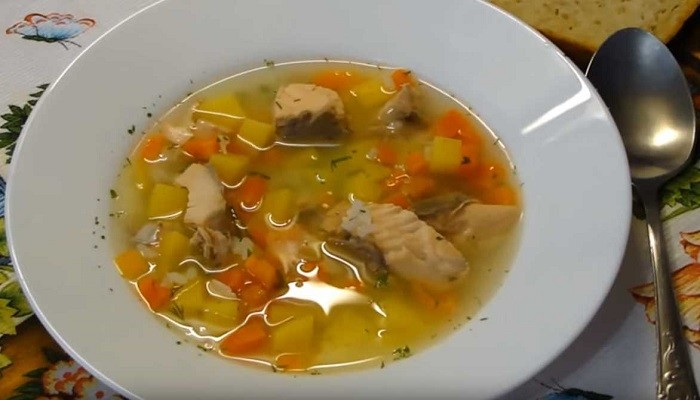 A simple recipe for salmon fish soup with potatoes and rice without cream