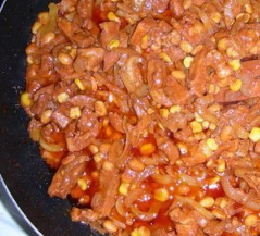 Mexican pork marinated with beans