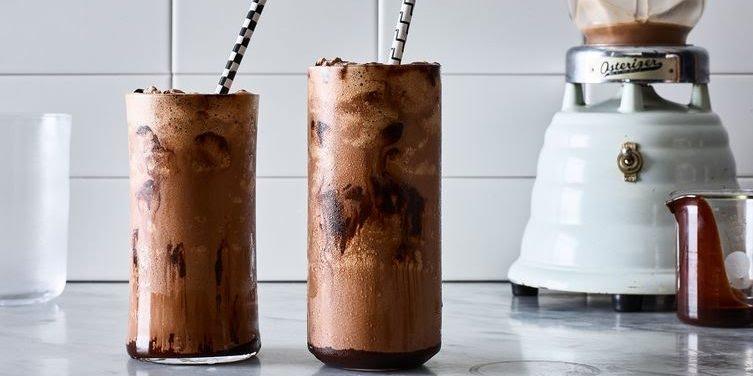 Milkshake with chocolate sauce