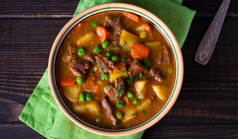 Beef soup with vegetables and wine