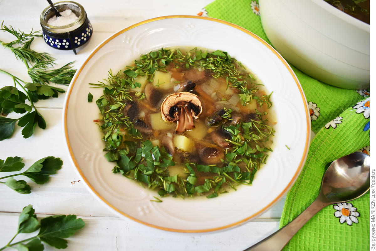 Stewed soup with buckwheat and mushrooms