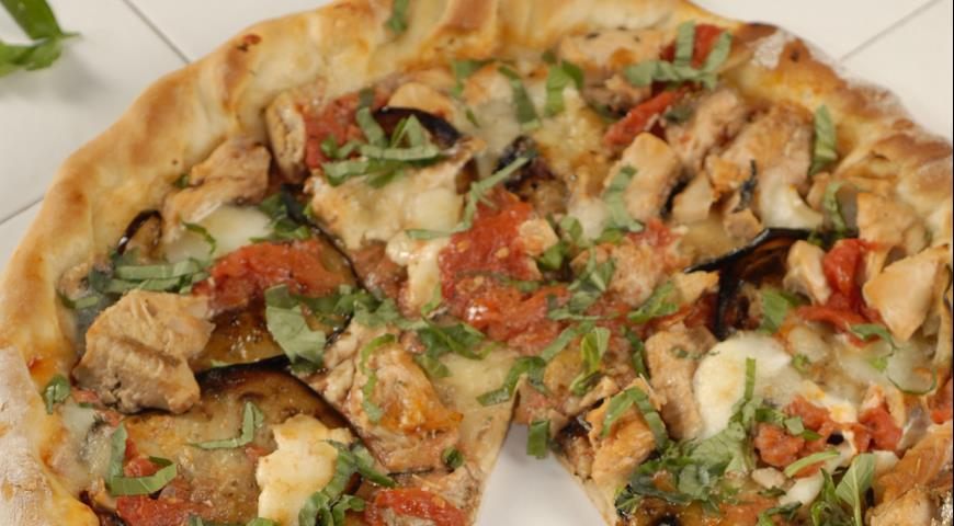 Pizza with eggplant and salmon