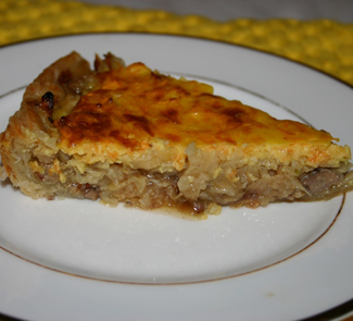 Pizza with liver and cabbage