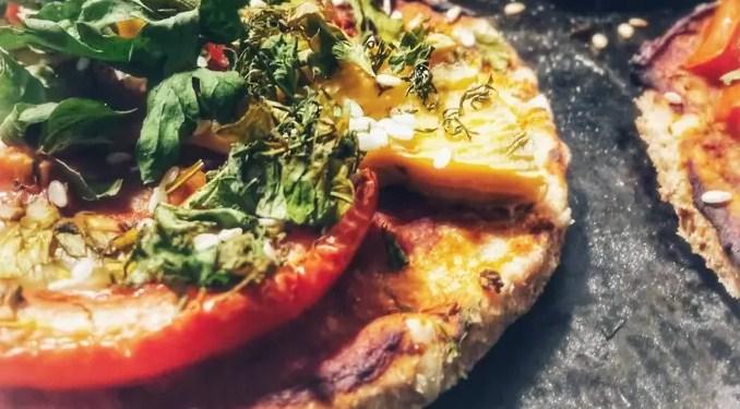 Mini Pizzas: Provencal Herb Tofu + Pink Tomatoes