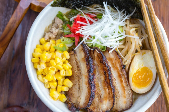 Chicken broth miso soup with ramen noodles