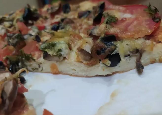 Pizza on curd dough