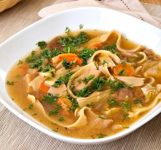 Mushroom soup with homemade noodles
