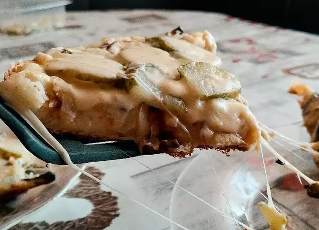 Pizza with Mushrooms and Chicken Breast