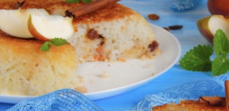 Rice casserole with apples in a slow cooker