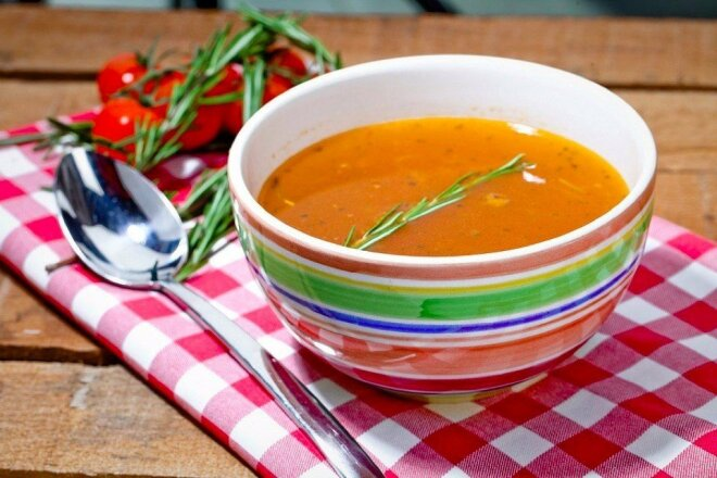Minestrone soup with lentils and parmesan