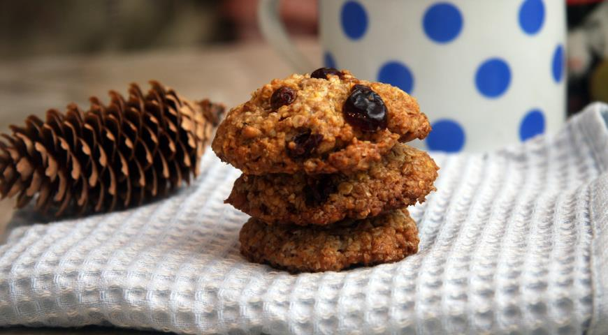 Oatmeal cookies with sprouted wheat and cranberries