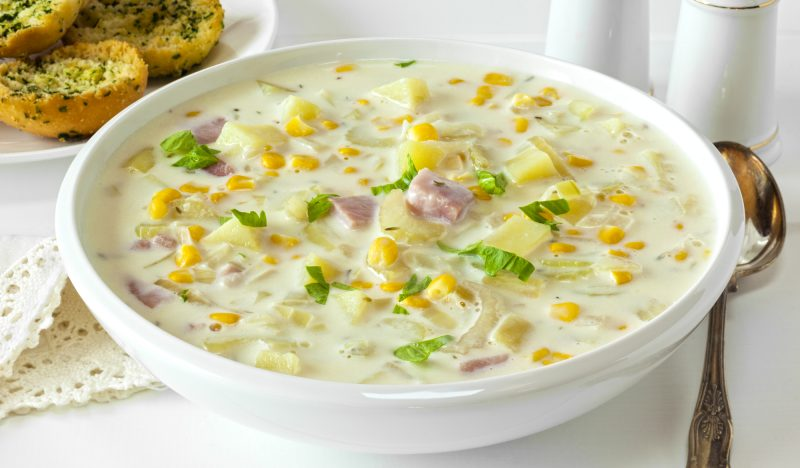 Corn soup with bacon and cream