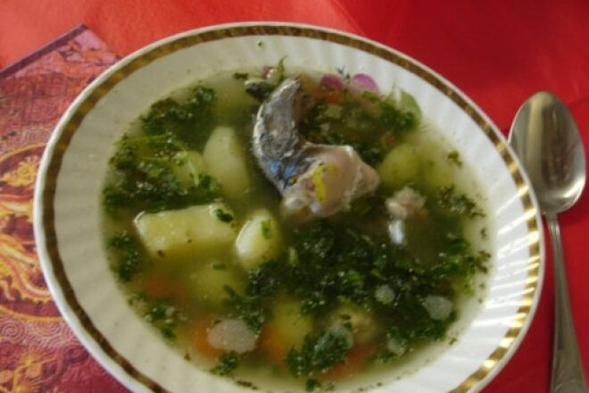 Fish soup with old Russian vodka
