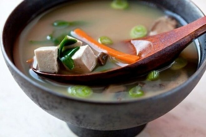 Miso soup with pork and mushrooms