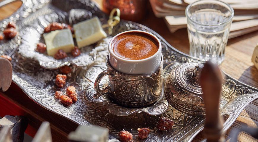 Coffee in cezve with halva