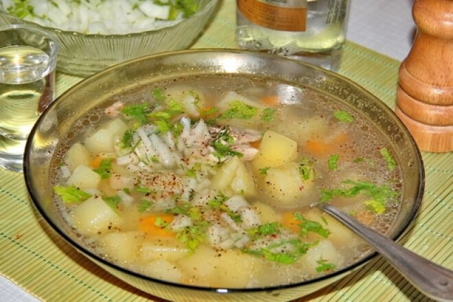 Homemade sea bass fish soup