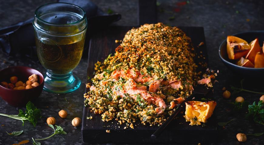 Sockeye salmon with nut crust