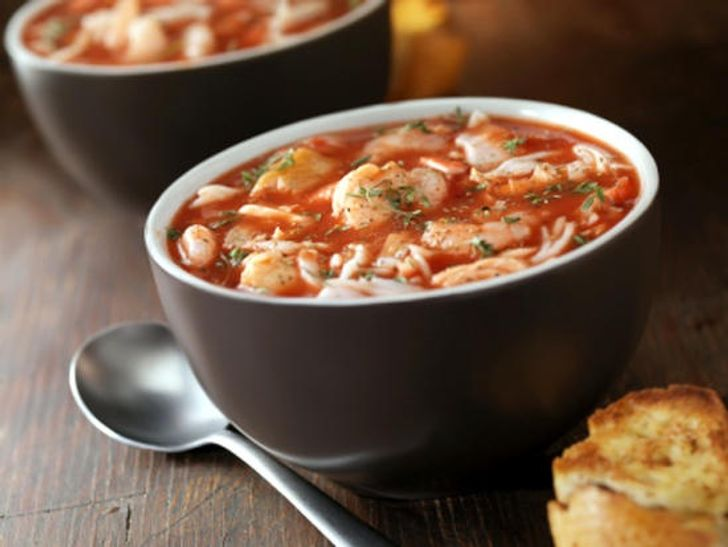 Tomato soup with shrimps