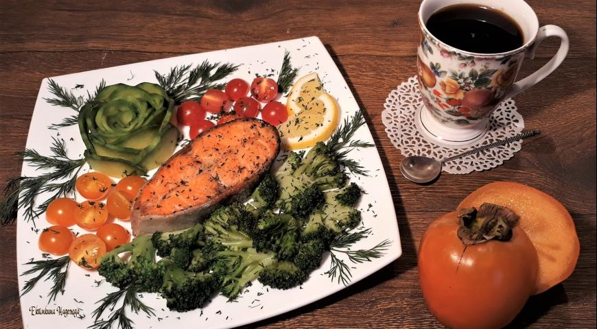Rainbow trout with broccoli