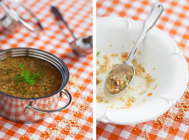 millet soup with porcini mushrooms