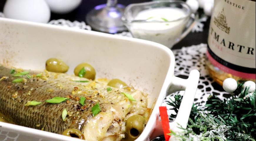 Whitefish in lemon-garlic marinade with cream sauce