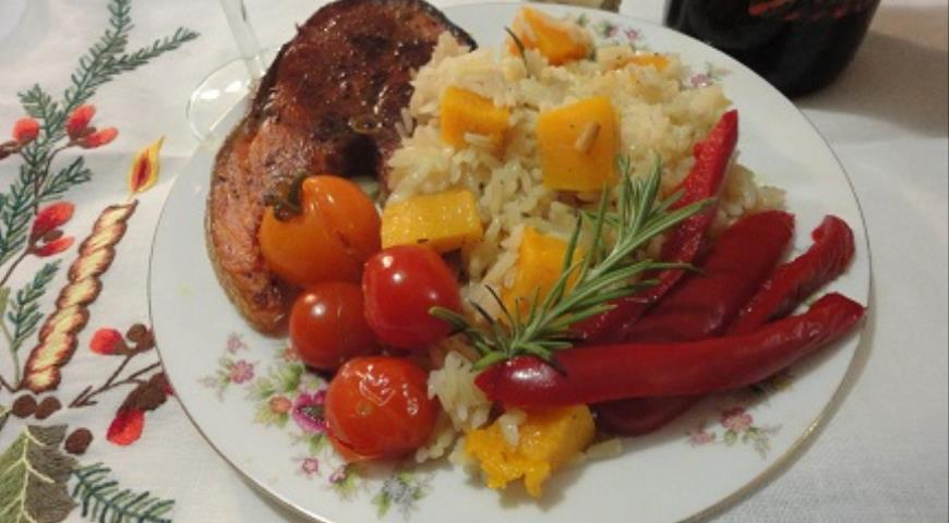 Red fish with winter rice