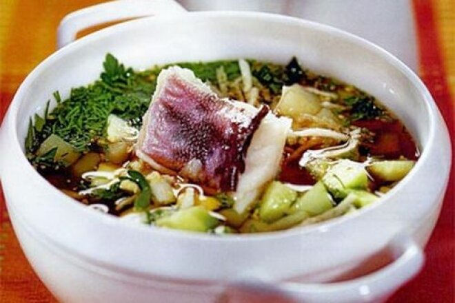 Okroshka with fish and cucumber pickle