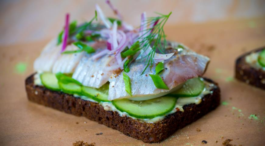 Sandwiches with sprat and herring, like on Deribasovskaya
