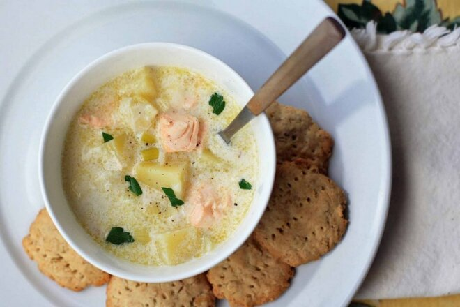 Finnish trout fish soup with cream and vegetables